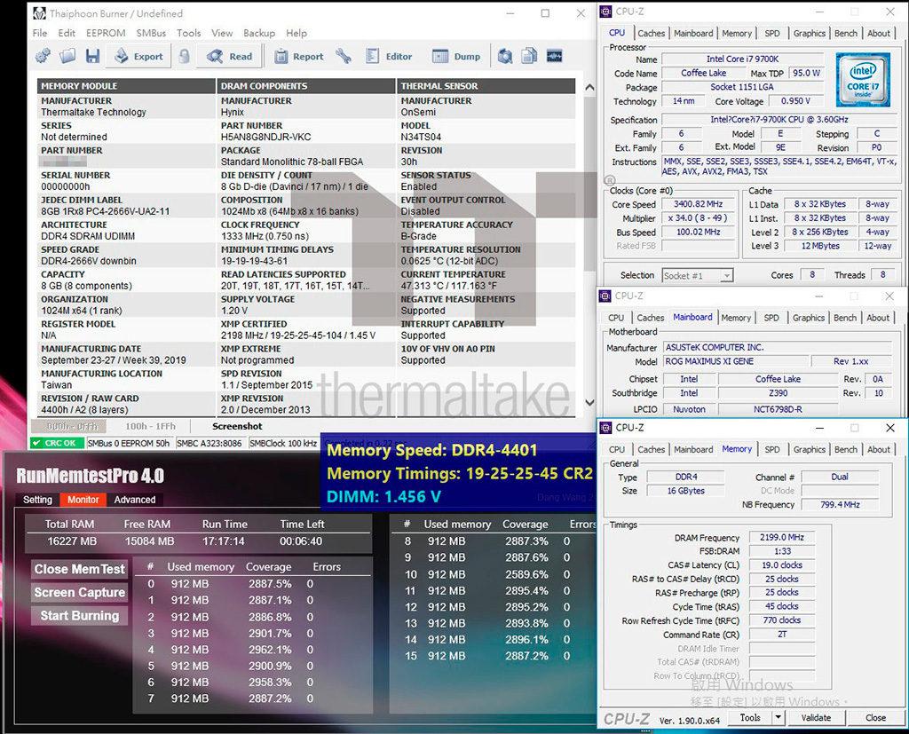Thermaltake представила комплекты памяти Toughram RGB DDR4 4000-4400