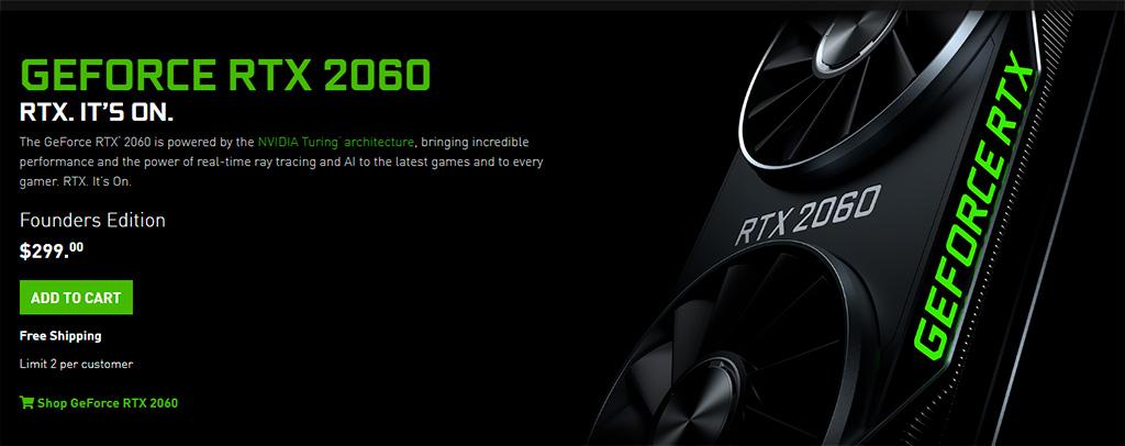 NVIDIA снизила цену на GeForce RTX 2060