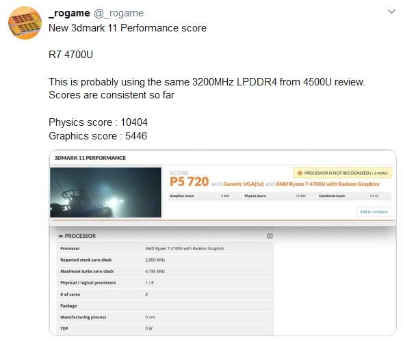 Видеочип AMD Ryzen 7 4700U обошёл NVIDIA GeForce MX250