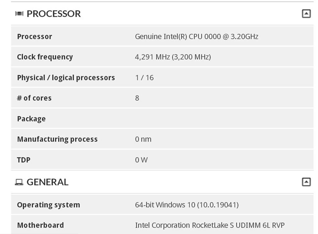 16-поточный процессор Intel Rocket Lake-S протестирован в бенчмарке 3DMark