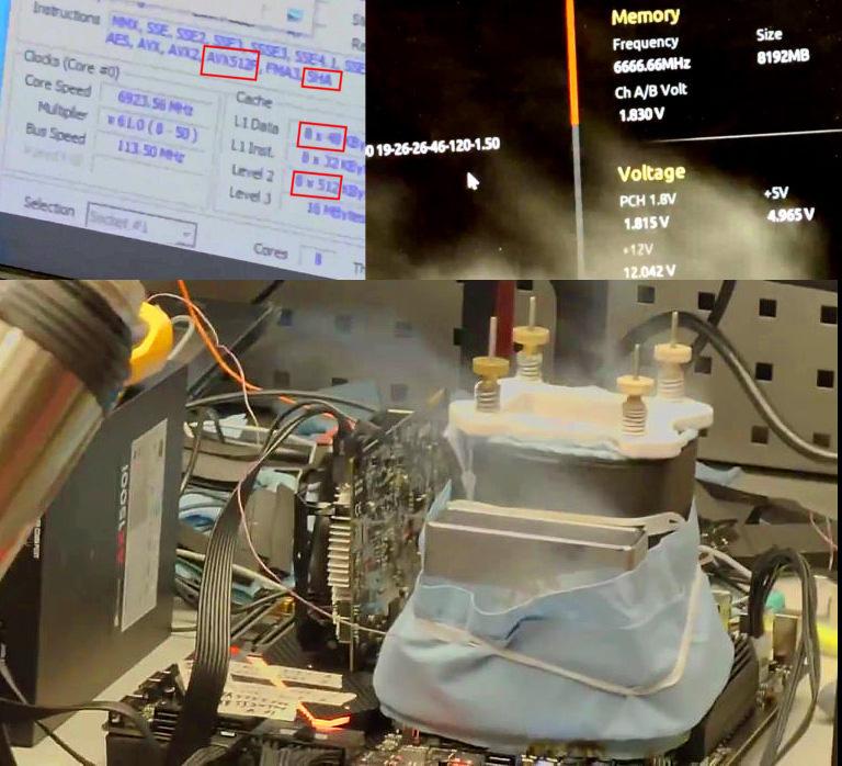 Процессор Intel Rocket Lake разогнан до частоты 6.9 ГГц на жидком азоте